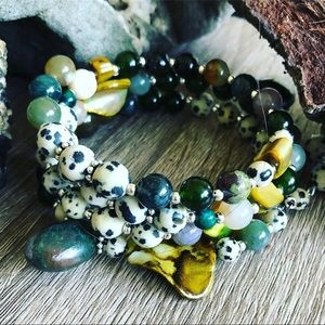 Handmade natural gemstone beaded wrap bracelet